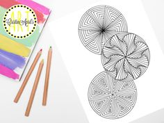 Printable Adult Coloring Book Page, Paradox Circles Mandalas  Instant Download, Hand-Drawn, Zentangle Inspired Colouring, DIY Wall Art by CristinApril on Etsy