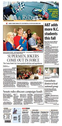 Front page Oct. 28, 2013 www.news-record.com
