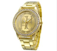 Dámské hodinky zlaté barvy s nápisem CHHC kovový pásek osazené bílými  krystaly Na tento produkt se e942d1c218