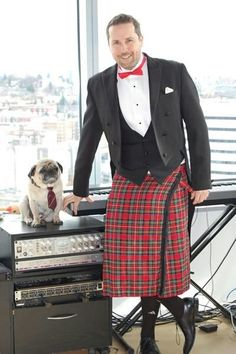 Cutest Puggie in a the World...with his daddy in a Kilt ;)