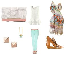 Tribal Scarf, Mint Jeans, and Camel Wedges