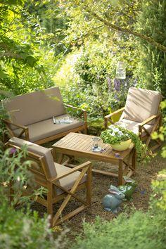 Inspiration Nature. Ensemble bas Aster (1 canapé + 2 fauteuils + 1 table basse) En acacia certifié FSC. Garantie 2 ans. Canapé de dim. L 120 x P 65 x H 85 cm. Fauteuils de dim. L 65 x P 65 x H 85 cm. Vendus avec coussins polyester taupe. Table basse de dim. L 100 x l 55 x H 45 cm. 222978
