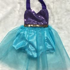Mermaid Tutu Dress & Romper Outfit so perfect for your Mermaid party, Disney trips and any special occasion! Sequin trim on bodice of Mermaid romper. This baby Tutu Dress is so perfect for first birth