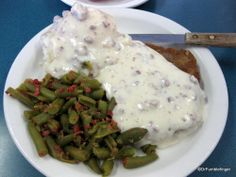 Chicken fried steak, green beans and gravy at Mom's Cafe, Salina, Utah.  Everything fresh and home-made  Tasted even better than it looks!