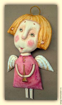 """Купить текстильная грунтованная кукла """"Ангел №1"""" - разноцветный, розовый, блондины, ангел, ангелочек, кукла"""