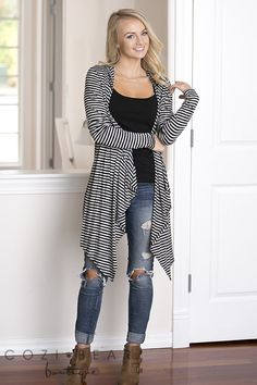 Striped Hooded Cardigans | S-XL! | Jane