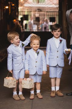 Flower Boys with birch box container and blush rose petals at Preservation Hall, New Orleans