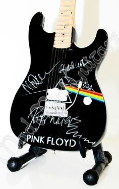 Miniature Guitar PINK FLOYD with free stand. Dave Gilmour
