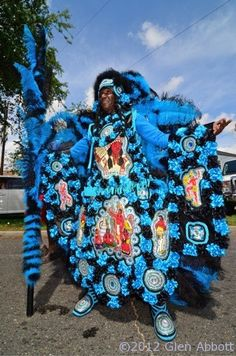 "Mardi Gras Indians parade on ""Super Sunday"" in New Orleans"