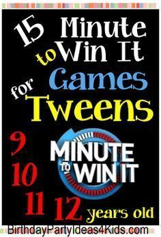 Tween Minute to Win It Games - Fun, easy and cheap games for a tween party!   Ages 9, 10, 11, 12 years old. http://www.birthdaypartyideas4kids.com/tween-minute-to-win-it-games.html