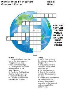 Planets - Printable Crossword Puzzles for Kids | Puzzles ...