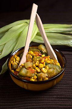 Mexican Zucchini with Corn: zucchini, corn, tomato, white onion, garlic, salt, pepper, grape seed oil, chile poblanos or jalapeno, queso fresco.
