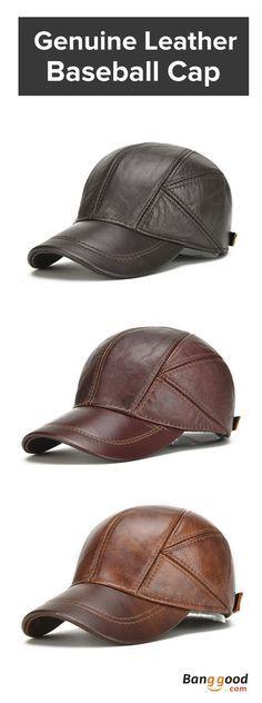 Mens Winter Warm Genuine Leather Baseball Cap Earflap Ear Muffs Windproof  Outdoor Trucker Hats d9ef77497d2d