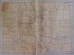 1921 Antique Colorado State Map Vintage Map of Colorado with Railroads 4400