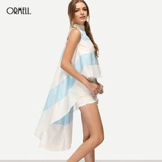 ORMELL 2017 Summer Women Fashion Vintage Strip Print Blouse Beach Cold Shoulder Causal Office Lady Slim Sleeveless Blouse #summeroutfits #streetstyle