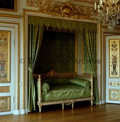 In the Prince's Bedroom, the alcove and bed survive from Jean-Baptiste Masreliez's decorations. The alcove is surmounted by a coronet and laurels symbolising the martial successes that were expected of the prince Royal Room, Castles Interior, Furniture, Alcove Bed, Interior, French Style Interior, Luxury House, Wood Carving Furniture, Bedroom Design