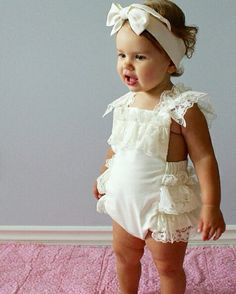 Cream Lace Romper Baby Girl Romper vintage by AllThatGlittersBaby