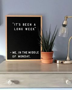 Yesterday's letter board in today's home. Each handcrafted felt letterboard comes with a full set of characters to personalize the walls of your home. Office Quotes, Work Quotes, Sign Quotes, Funny Quotes, Funny Monday Quotes, Quotes Kids, Funny College Quotes, Funny Memes, Monday Humor