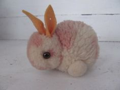 """pom pom bunny.  I think this is a vintage Stieff  -  This is very much like my """"Chippy"""" (a chipmunk) given to me when I was born from Aunt SharonMaron (yes really her name)"""