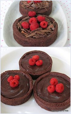 saboreando a vida: Tortinhas de Chocolate com Framboesas