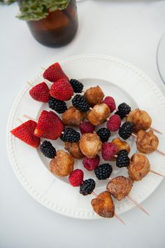 Donut hole kebabs for a brunch shower. Photography by brookeschultzphotography.com,