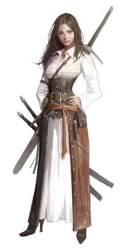 Female Fighter Mercenary - Pathfinder PFRPG DND D&D d20 fantasy