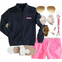 Super casual outfit that could be dressed up with a bold belt! Perfect for a school day-could be worn with some sperrys as closed toes shoes; Preppy Girl, Preppy Look, Preppy Style, My Style, Classic Style, Preppy Outfits, Cute Outfits, Short Outfits, Spring Summer Fashion