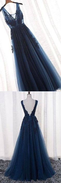 Navy Blue A-Line V-Neck Tulle Long Prom Dress With Appliques 0859 Dunkelblaues A-Linie V-Ausschnitt Tüll Langes Abendkleid mit Applikationen 0859 # Hoco Dresses, Dance Dresses, Ball Dresses, Pretty Dresses, Beautiful Dresses, Evening Dresses, Formal Dresses, Dress Prom, Luulla Dresses