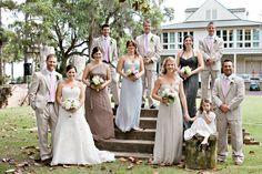 Amsale Bridesmaids Dresses - Truffle, Dove Grey, Champagne & Charcoal.