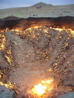 "Darwasa or Derwese (Turkmen for 'The Gate'), Turkmenistan. A giant crater in the middle of the Karakum desert, known as ""Gates of hell"". Photo by Helen Wositzky"