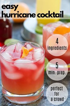 You will love this Easy Hurricane Drink Recipe! Made with only 4 ingredients, which makes this hurricane drink recipe fo Low Calorie Alcoholic Drinks, Alcoholic Punch Recipes, Easy Drink Recipes, Alcohol Drink Recipes, Alcoholic Party Drinks, Cocktail Recipes For A Crowd, Alcoholic Shots, Party Punch Recipes, Alcoholic Desserts