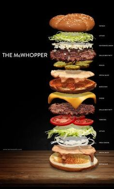 Killed Burger King's McWhopper, so We Made it Ourselves How to build a hybrid Big Mac and Whopper sandwich with fresh ingredients from scratch!How to build a hybrid Big Mac and Whopper sandwich with fresh ingredients from scratch! Yummy Recipes, Soup Recipes, Cooking Recipes, Gourmet Recipes, Gourmet Burgers, Burger Recipes, Burger Menu, Beef Burgers, Good Food