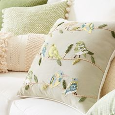 Our pillow features pretty embroidered birds perched on branches in greens, yellows and blues on a natural background. It will be just the right fit on your favorite chair. Embroidery Fashion, Hand Embroidery, Living Room Cushions, Floral Cushions, Embroidered Bird, Bird On Branch, Brazilian Embroidery, Pillow Fight, Home Room Design
