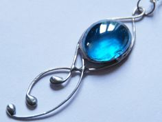 Stained glass raindrops pendant necklace- Celtic turquoise sky blue silver wire drops feminine jewellery