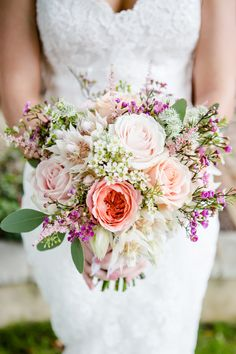 Beautiful bouquet by Jenni Bloom with David Austin roses, wax flower, astrantia, eucalyptus etc.   Photo by Lydia Stamps Photography