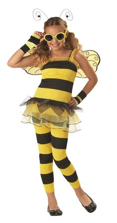Little Honey Bee Costume - She is the sweetest to bee around in this fun 6 piece costume. This bee has everything. It has striped leggings with an elastic waist. Matching top with yellow and gold ruffled edging and attached tutu. There are matching glovelettes, detailed yellow and black wings, swirly antenna headband and yellow bug-eye sunglasses. Great for Halloween parties and spring dress up.  #bee #calgary #animal #kids #children #costume #calgary #yyc