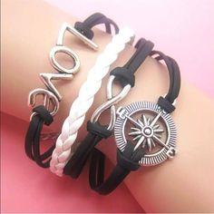 Black Compass Heart Wrap Bracelet
