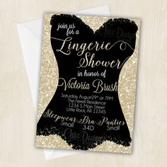 Lingerie Shower Invitation - White Gold - Champagne Color - Digital/Printable Design - pinned by pin4etsy.com