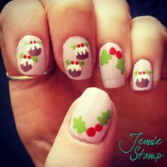 nude with christmas puddings nail art #FestiveFingertips