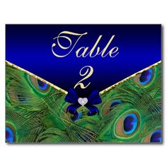 Royal Blue Peacock Table Number Card Post Cards