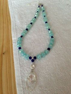 necklace Swarowski and glass beads