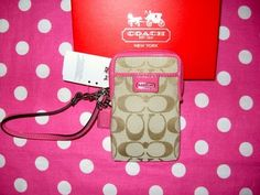 New Coach Signature C Khaki Brown Pink Phone Case Wristlet Wallet Gift Box   eBay