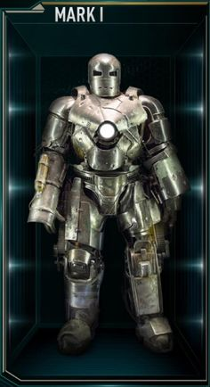 """Iron Man Movie Armors: MARK XXV """"Striker"""" (Powerful jackhammer like hands can withstand electrical surges, unique green colored Arc Reactor)"""