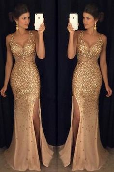 See Through Gold Rhinestone Mermaid Formal Evening Prom Dresses With Beading,SVD351