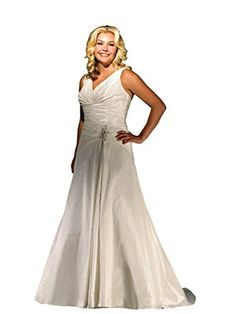 bf1dc09d2a2 Allure Bridals Plus Size Womens Wedding Dress - A-Line taffeta gown with  tank straps