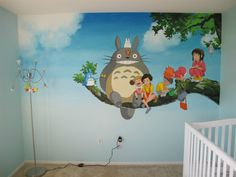 Future parents painted beautiful murals in their baby's room inspired by Studio Ghibli. Amazing! The work done it wonderful. Well done!