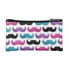"Colorful bling mustache pattern (Faux glitter) Makeup Bags NB. This product has an image of glitter on it and is not actually made of real glitter.mustache, moustache, mustaches, moustaches, girly, bling, glitter, glittery, glam, glamor, glamorous, shiny, girl, girls, texture, cool, stylish, trendy, fashionable, fun, neat, funny, silly, humor, funny, stache, silhouette, shape, ""fun mustache"", ""funny mustache"", ""silly mustache"", humorous, ""girly mustache"",..."