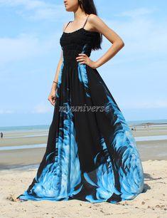 Black Maxi Dress Wedding Gown Bridesmaid Dress Prom Summer Plus Size Floral Evening Dress