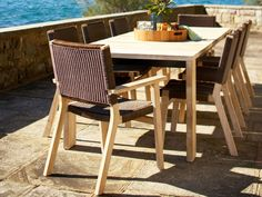 Barwon dining chairs with Jan Juc dining table. Outdoor furniture | Patio furniture | Outdoor dining | Teak outdoor | Outdoor design | Outdoor style | Outdoor luxury | Designer outdoor furniture | Outdoor design inspiration | Pool side furniture | Outdoor ideas | Luxury homes