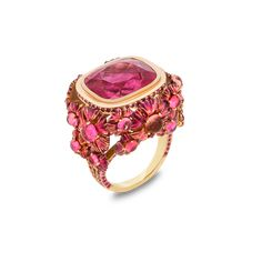 Solange Azury-Partridge, Supernature collection, Pink ring, Rubellite, pink Sapphire, pink tourmaline, ceramic plate and lacquer ring set in 18ct yellow gold
